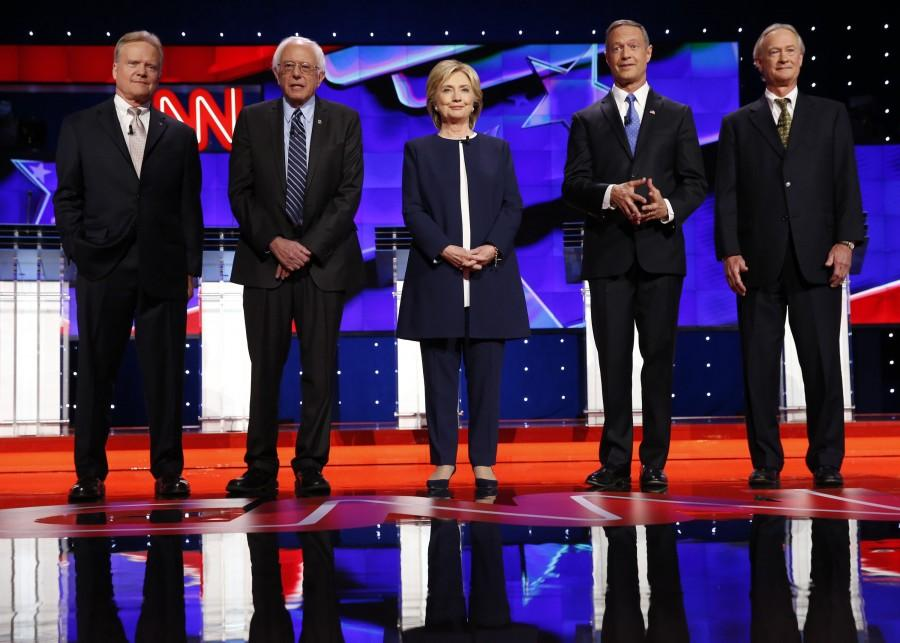 From left, Democratic presidential candidates Jim Webb, Bernie Sanders, Hillary Rodham Clinton, Martin OMalley and Lincoln Chafee on the debate stage on Tuesday, Oct. 13, 2015, in Las Vegas.