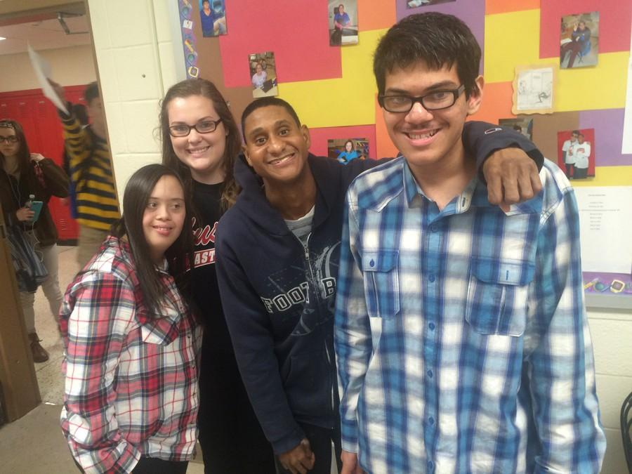 Senior Becca Delaney hanging out with Jerard Viera, Makenzie Molish, and Sami Hoq.