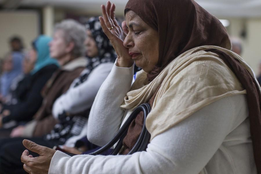 Nasreen Rehman is drawn to tears during an interfaith prayer service for the victims of the San Bernardino shooting rampage at the Islamic Center of Inland Empire in Rancho Cucamonga, Calif., on Saturday, Dec. 5, 2015. I feel such overwhelming sadness for the victims and their families, Rehman said.