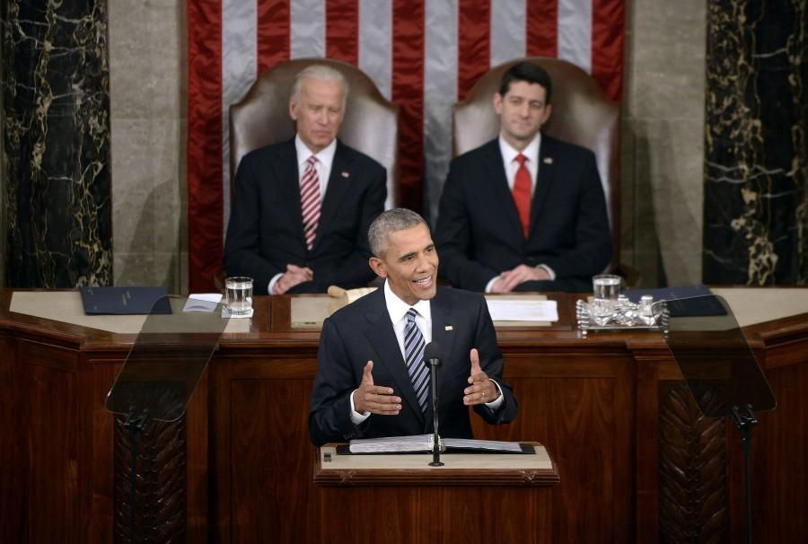 U.S. President Barack Obama delivers his final State of the Union address to a joint session of Congress at the Capitol in Washington, D.C., on Tuesday, Jan. 12, 2016.