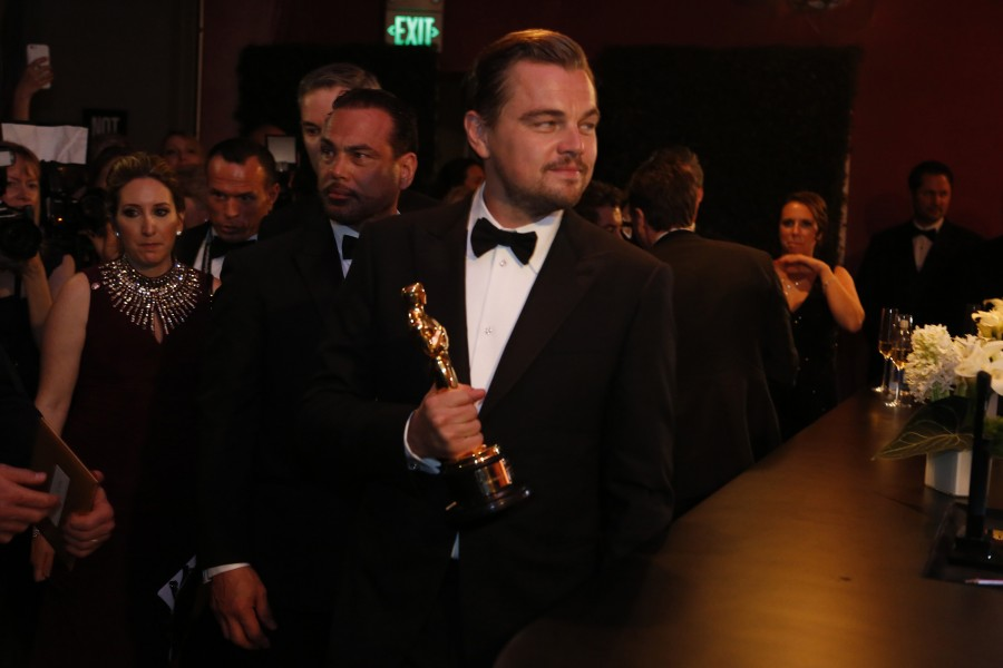 Leonardo DiCaprio at the engraving station at the 88th Academy Awards Governors Ball on Sunday, Feb. 28, 2016 at the Hollywood & Highland Center in Hollywood.