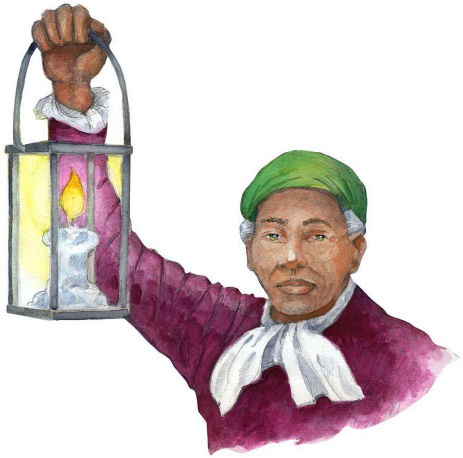 Harriet Tubman holding a lantern to light the Underground Railroad.