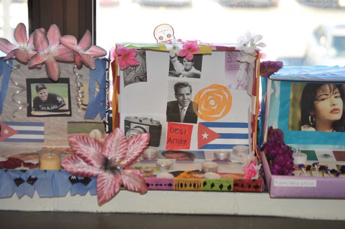 Students in Paola Kornspan's Spanish IV class constructed altars to honor the dead and celebrate Dia de Los Muertos.