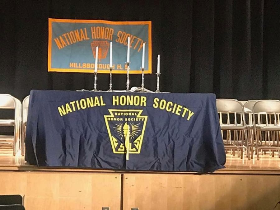 The stage was set last week to induct the newest members in the National Honors Society.