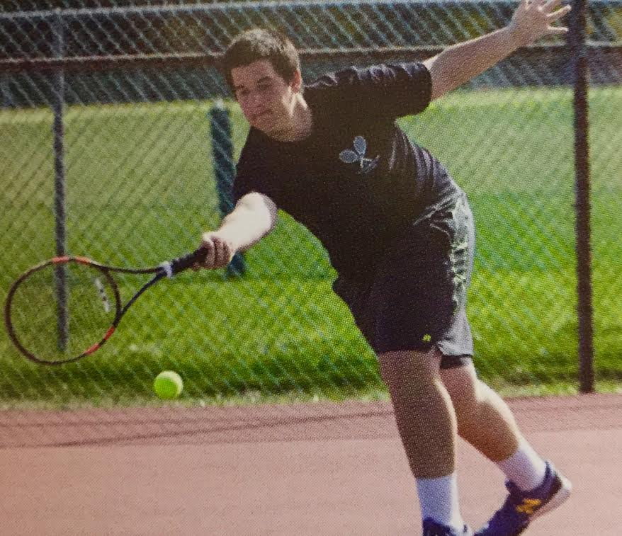 Senior+David+Spinrad+lunges+for+a+forehand+during+a+recent+match.