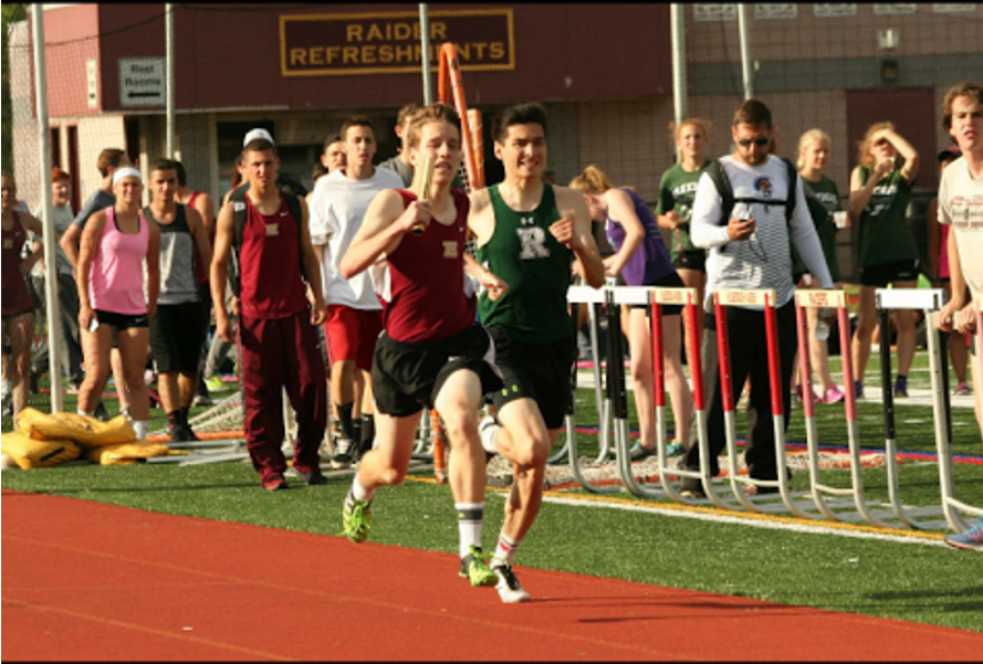 Senior+Joe+Bevilacqua+joined+forces+with+Jeremy+Shipley%2C+Thomas+Deluca%2C+and+Kennedy+Penn+to+set+a+new+school+record+in+the+4X400+relay+race.