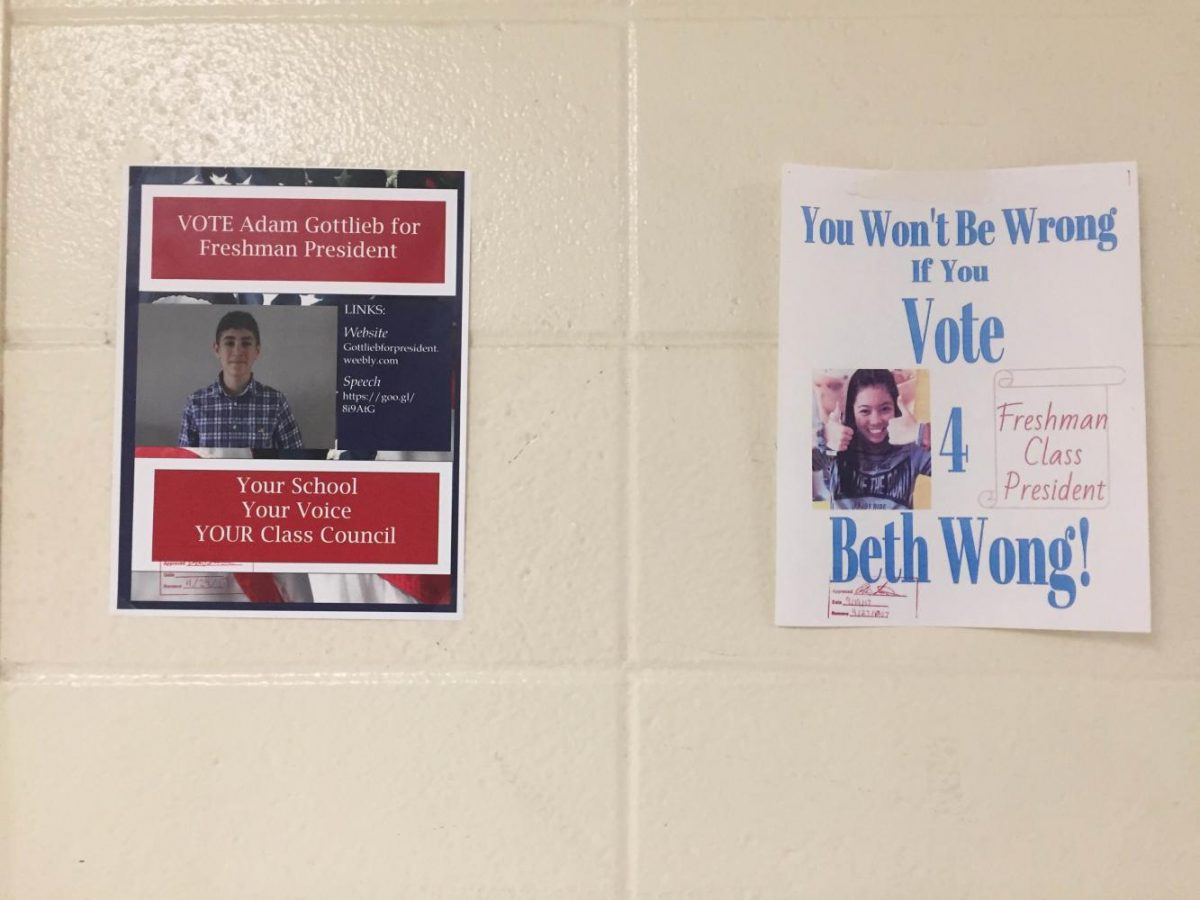 Freshmen Adam Gottlieb and Beth Wong campaign for president with posters on hallway walls.
