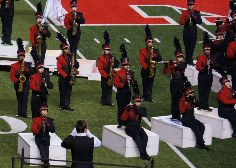 The HHS band performs at Rutgers Stadium for their annual participation in the state championship.