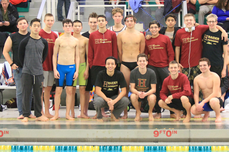 The+boys+swim+team+poses+for+a+picture+ahead+of+the+Skyland+Conference+meet.