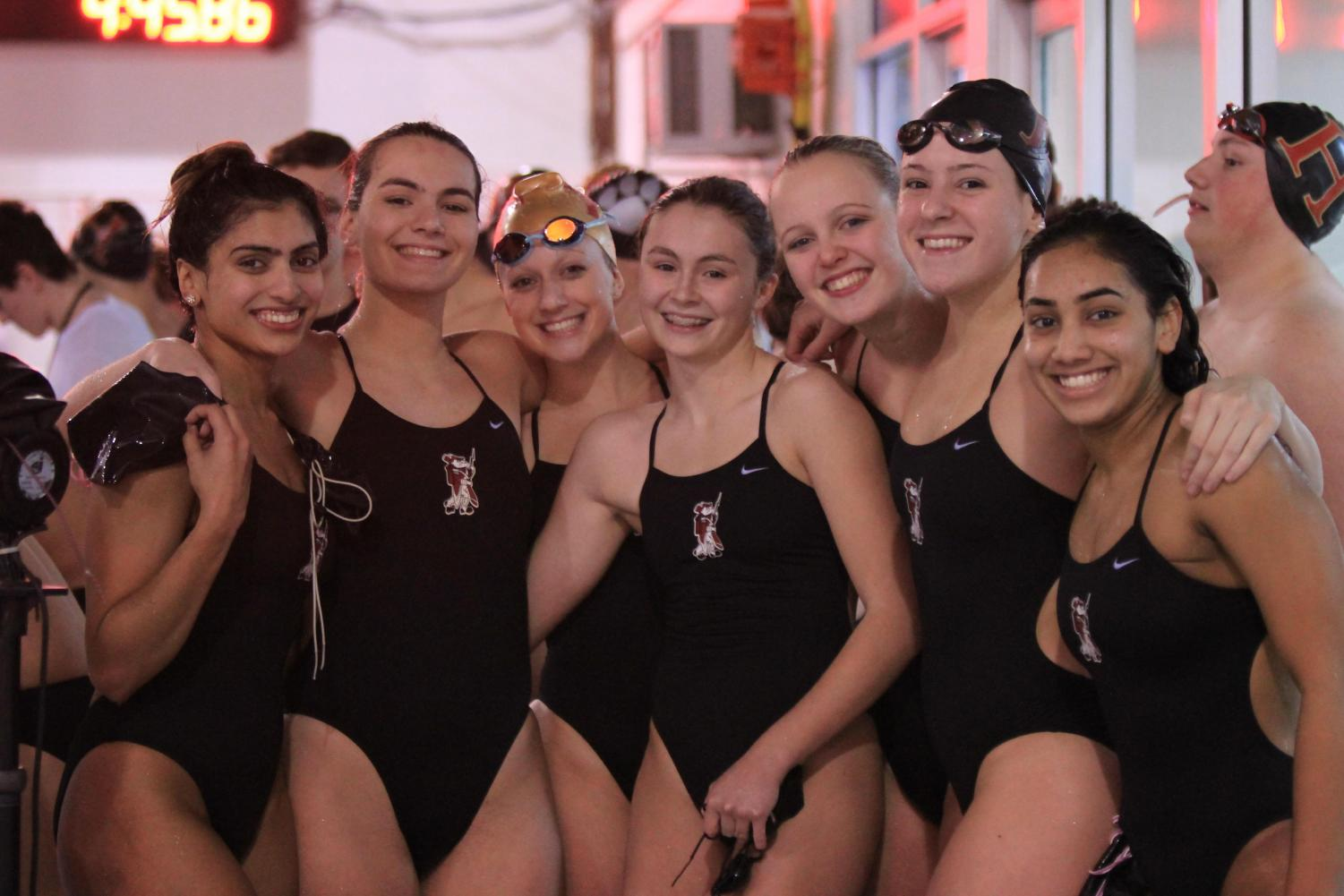 Girls swim team was all smiles prior to a meet with rival Bridgewater-Raritan. Unfortunately, Bridgewater got the best of the Raiders. This time.