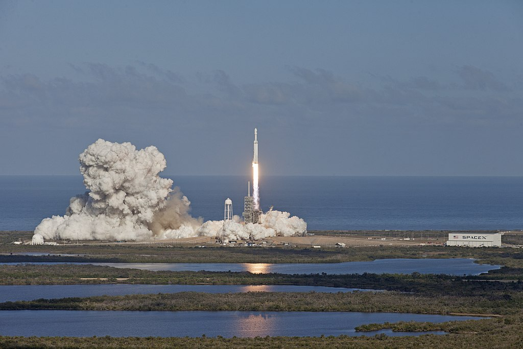 Falcon Heavy launches from  Kennedy Space Center in Cape Canaveral, Florida.