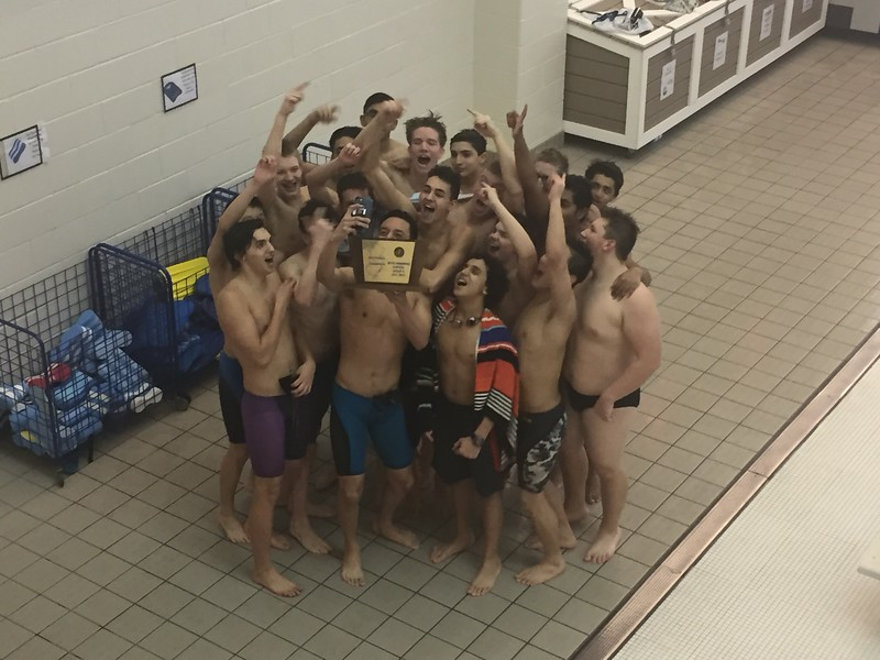 The+team+raises+their+trophy+in+jubilation.+For+Boro+boys+swim%2C+the+sectional+title+is+their+second+in+the+last+three+seasons.