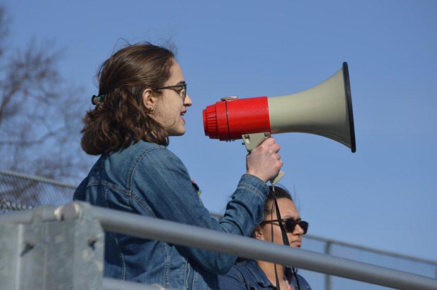 Senior Diana LoRicco addresses the crowd.