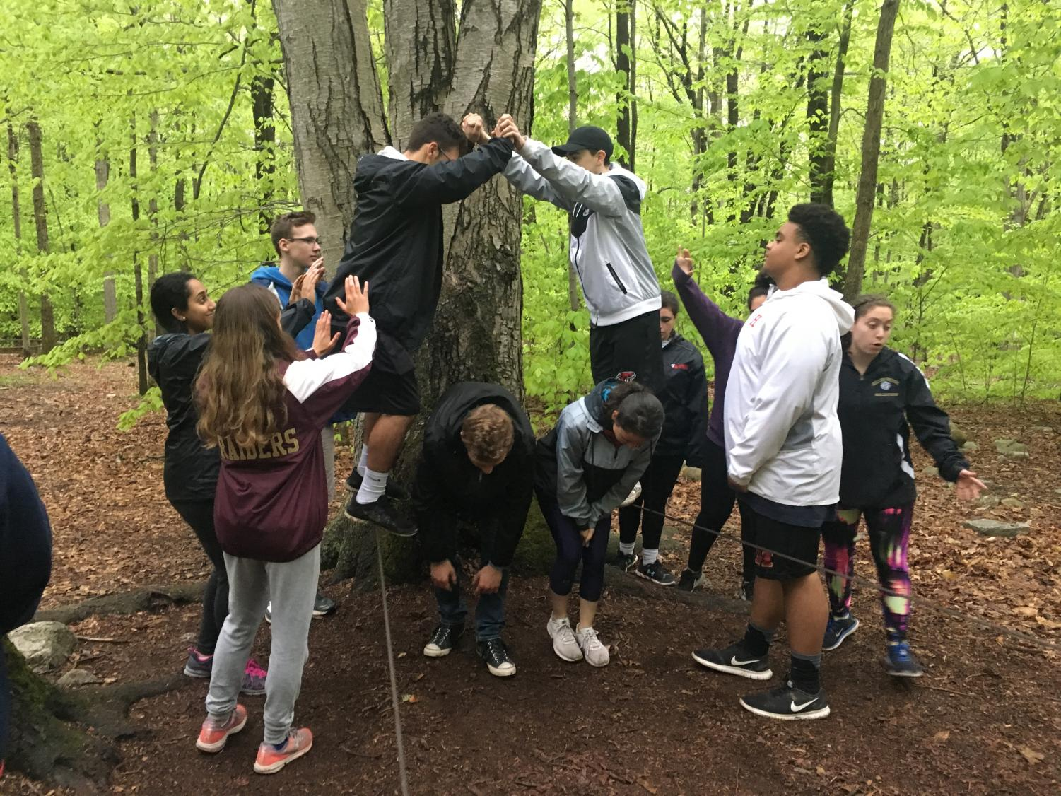 Peer Mentors work together to make their way across cable wires at YMCA Camp Mason in Hardwick, NJ.