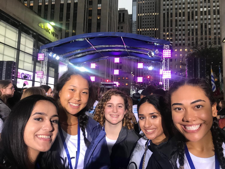 Girl Up members Shreya Kaul, Hanna Kim, Lindsey Baum, Riya Desai, and Raven Murray are all smiles amongst the crowd at NBC's The TODAY Show.