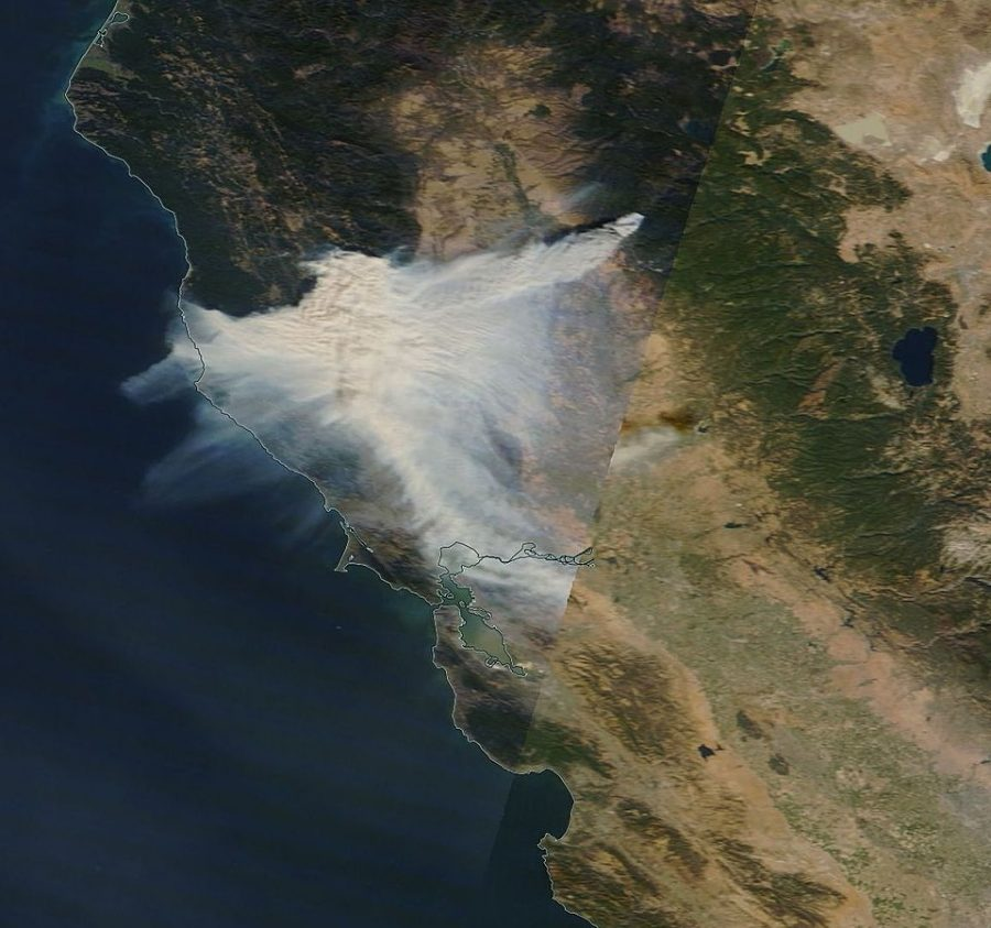 True color corrected reflectance image of California on November 8, 2018, showing the smoke from the California Camp fire near Paradise, California. On the same day the smoke spread southwestward to the Bay Area.