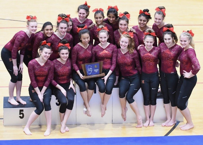 The+surging+gymnastics+team+gathers+around+the+podium+to+celebrate+its+Sectional+title.