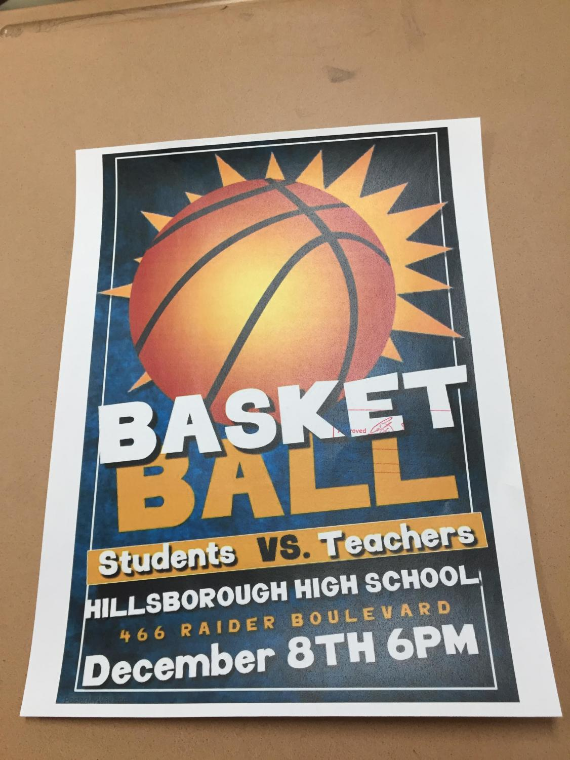 The Student vs. Teachers basketball game is slated for Dec. 8.