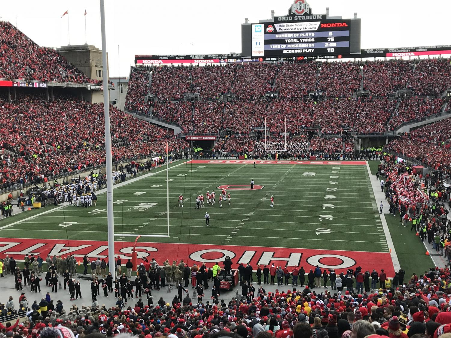 The beauty of the Ohio State's stadium during game time.