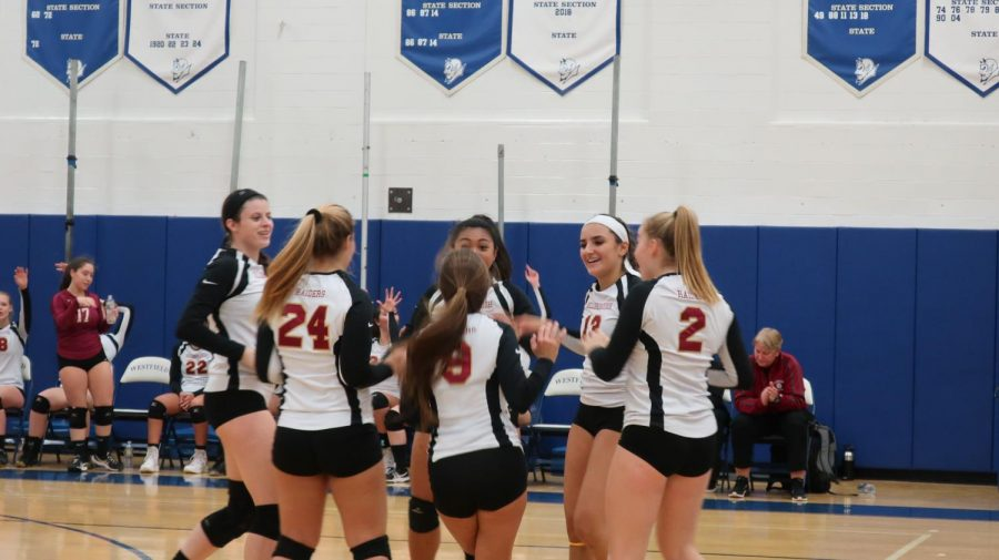The+girls+celebrate+after+winning+their+first+game+in+the+NJSIAA+state+tournament+against+Hackensack.+