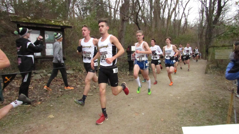 Senior Ryne Beni and Sophomore Chris Digricoli finish their run at their Regional Meet on Nov. 24.