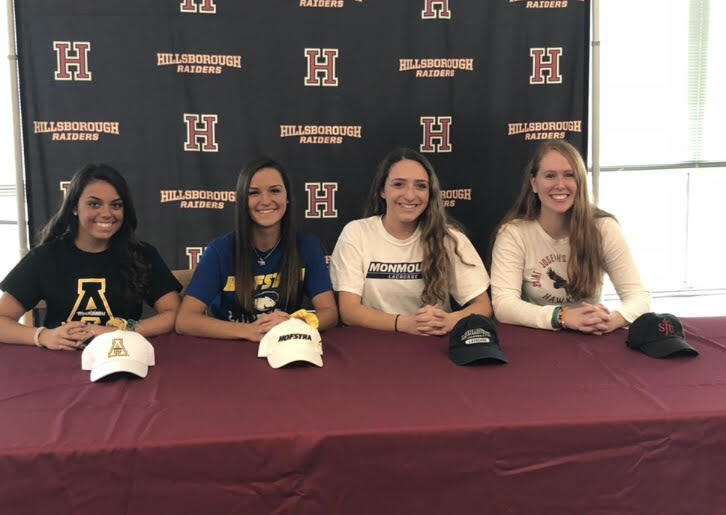 The+four+future+colelge+athletes+getting+ready+to+sign+their+contracts.+%28From+left+to+right%29+Delaney+Smith%2C+Kendall+Smith%2C+Gabriella+Vangeli%2C+Lisa+Ross.