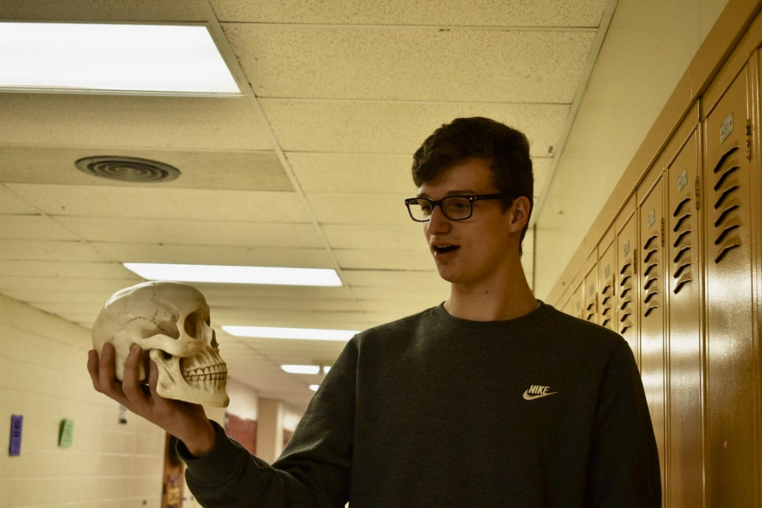 Sophomore Cole Monte does his best Hamlet impersonation. Perhaps Monte will expand his repertoire next year when he takes