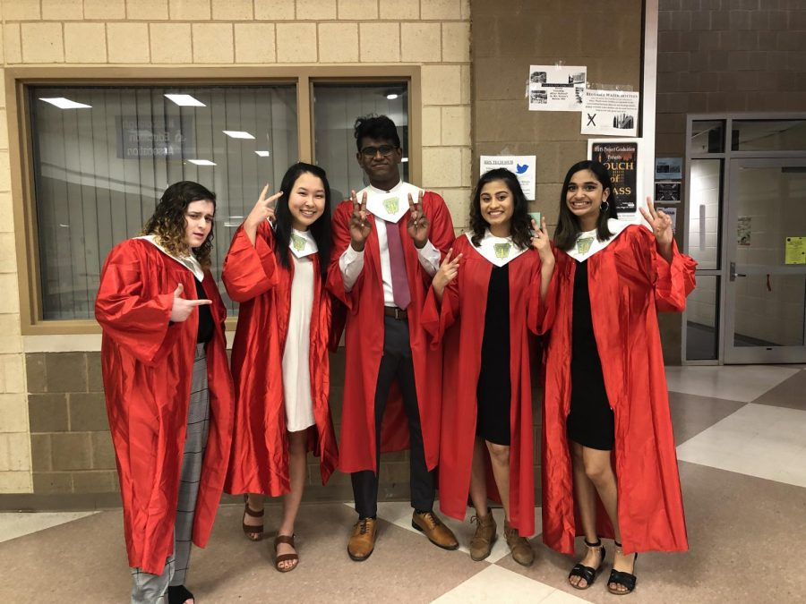 The+executive+board+poses+for+a+humorous+picture+before+the+ceremony.+From+left+to+right%2C+seniors+Lindsey+Baum%2C+Hanna+Kim%2C+Rupak+Stephen%2C+Meghan+Patel+and+Mahitha+Vivek.