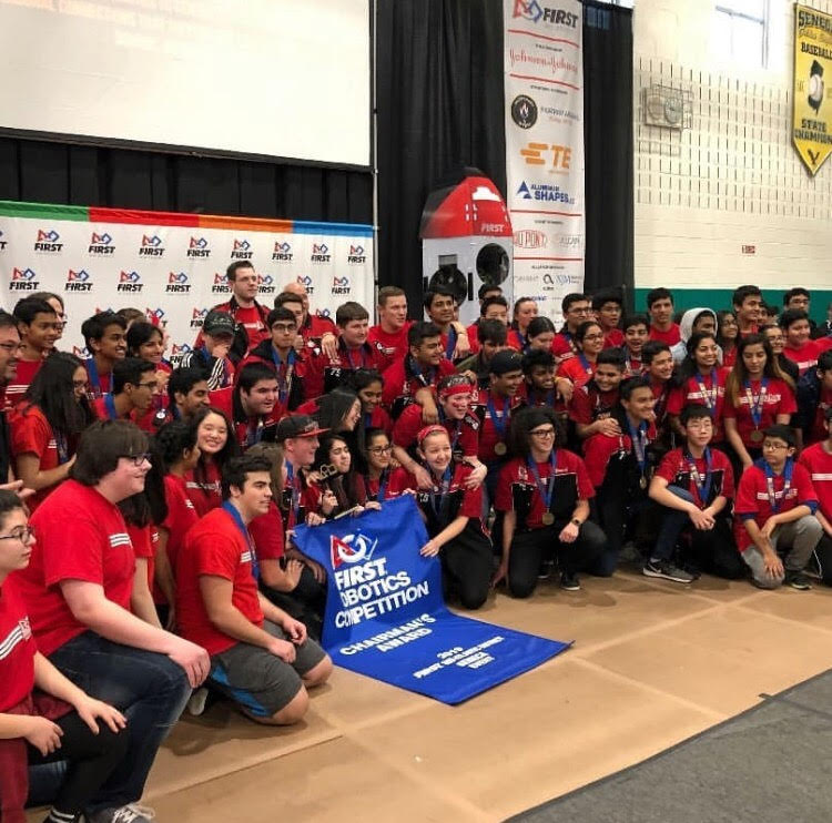 The Robotics Team after  their win at their weekend tournament.
