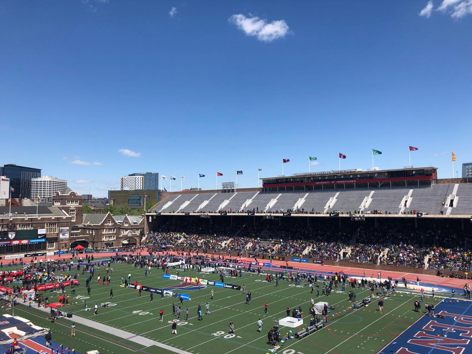 A picture of Franklin Field during Penn Relays.