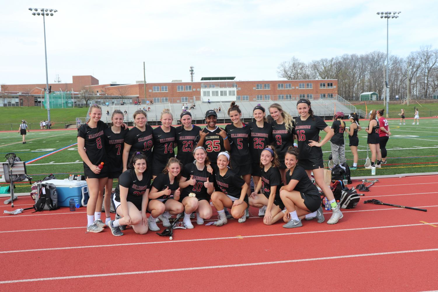 Raider girls lax after a 8-7 win against Basking Ridge earlier in the season.