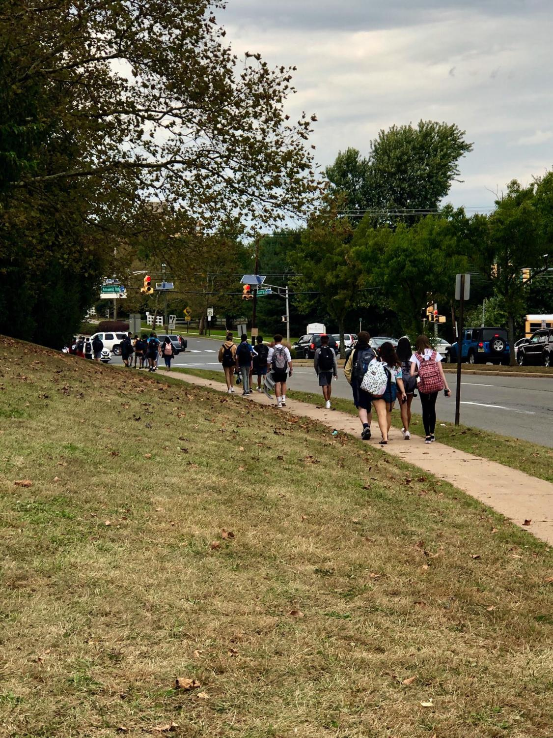 HHS students walk home after school in great numbers.