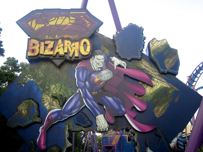 %22Bizarro%22++roller+coaster++sign+people+see+entering+Six+Flags+in+Jackson%2C+NJ.++
