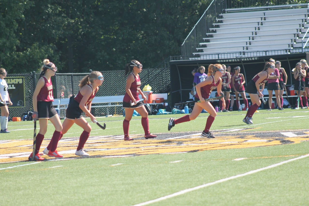 The Raiders attack the goal on a corner play against Hopewell Valley.