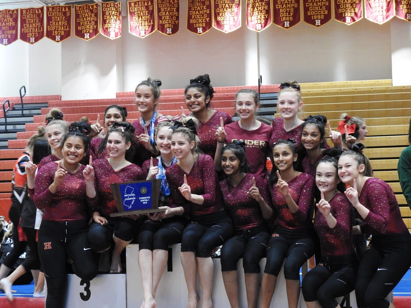 Hillsborough gymnasts celebrating their well deserved state championship.