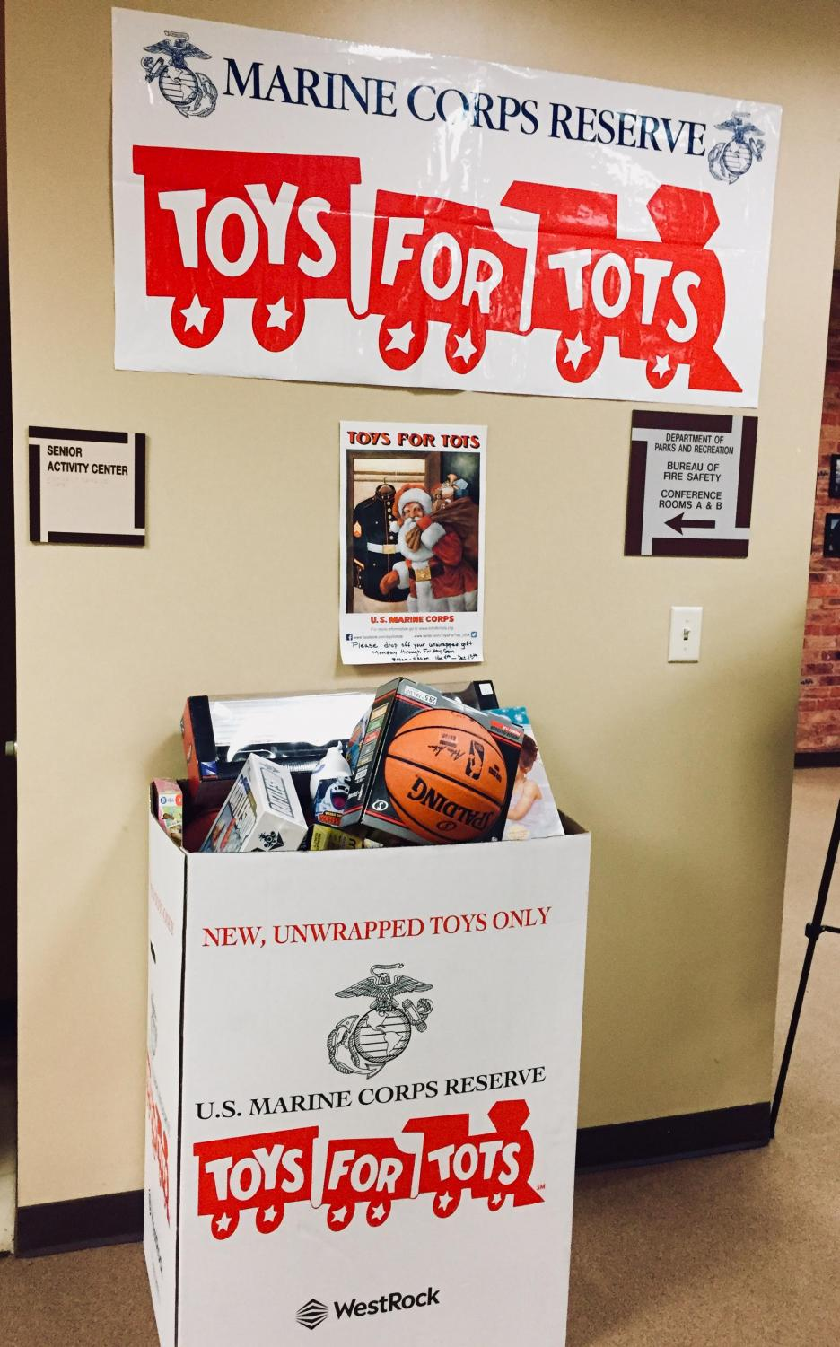 Toys for Tots donation drop-off box at the Hillsborough Municipal Building.