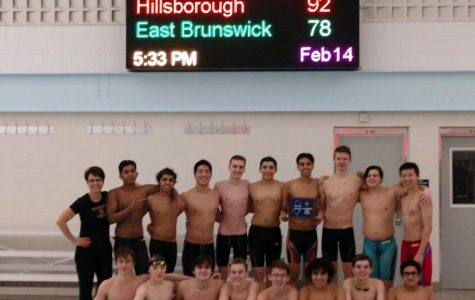 The Hillsborough boys swim team after winning the sectional championship.
