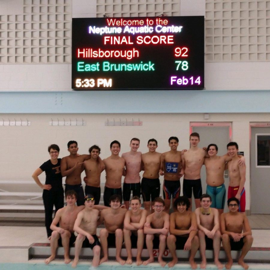 The+Hillsborough+boys+swim+team+after+winning+the+sectional+championship.
