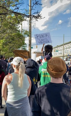 Protesters gather in Asbury Park, New Jersey.