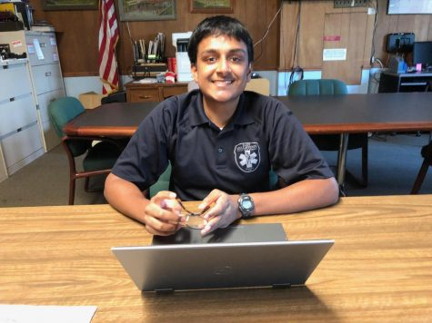 Senior Aravind Krishnan volunteering as an EMT this summer.