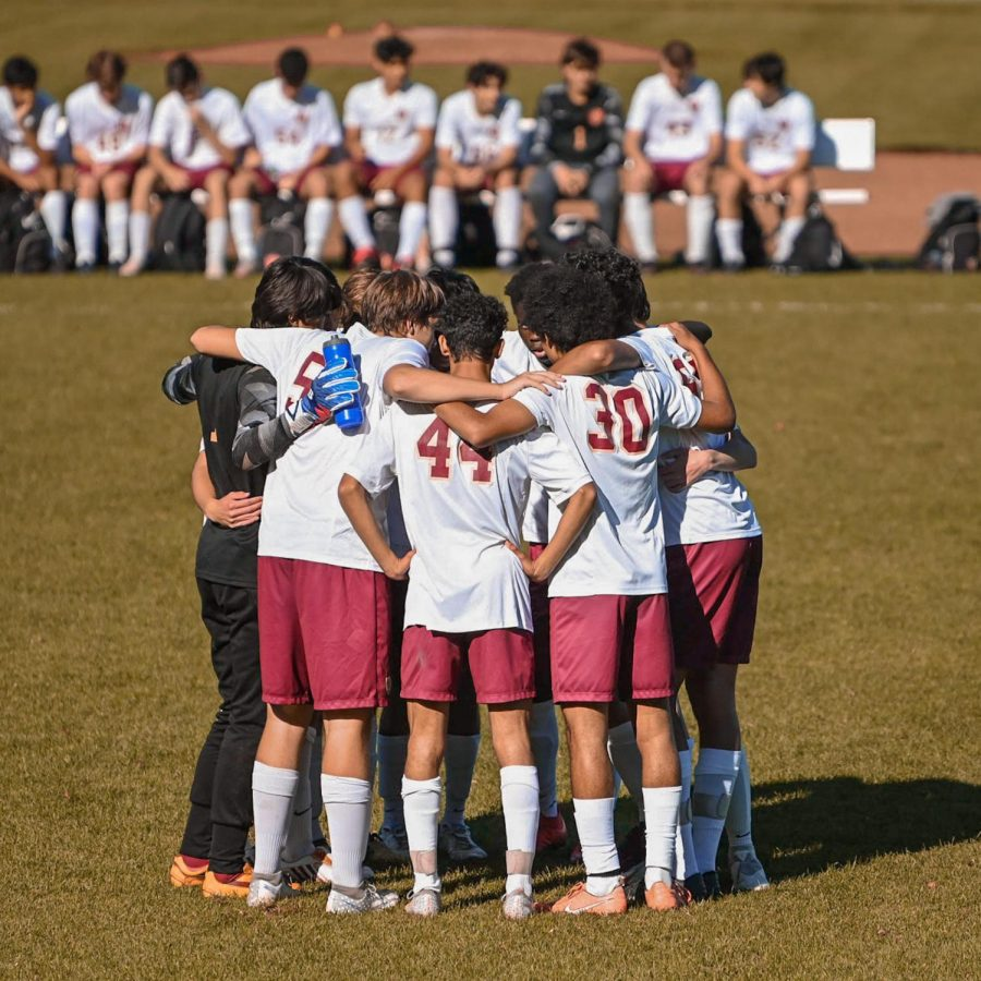Boys Soccer rallying at their game against Pingry on Oct. 17.