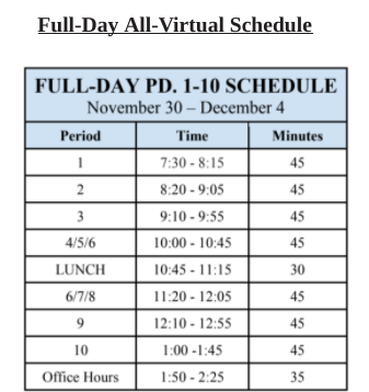 Hillsborough High School's new, full-day schedule for virtual learning.