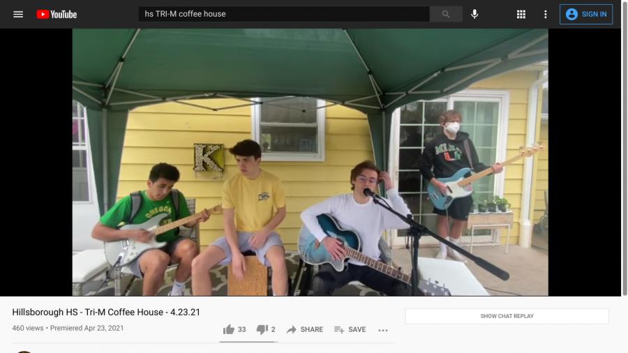 Senior band Vegan Bicycle performs at HHSs virtual coffee house.