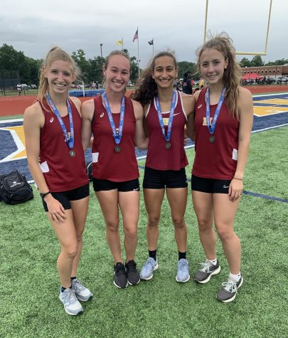 The girls after winning 2nd place and qualifying for Nationals. From left to right: Jayde McDermid, Kirstyn Schechter, Sia Mahajan, and Sarah Wnorowski.